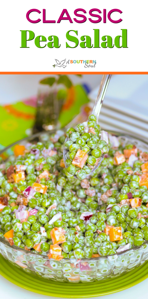 Classic Pea Salad is fresh and easy to make. With frozen peas, cheese, red onion all tossed into a light dressing.