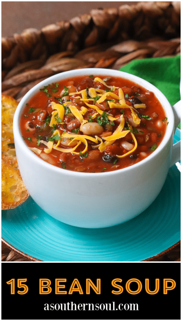 15 Bean Soup made with protein packed bean cooked in vegetable stock with crushed tomatoes, onions, garlic and seasonings is a bowl full of comfort!
