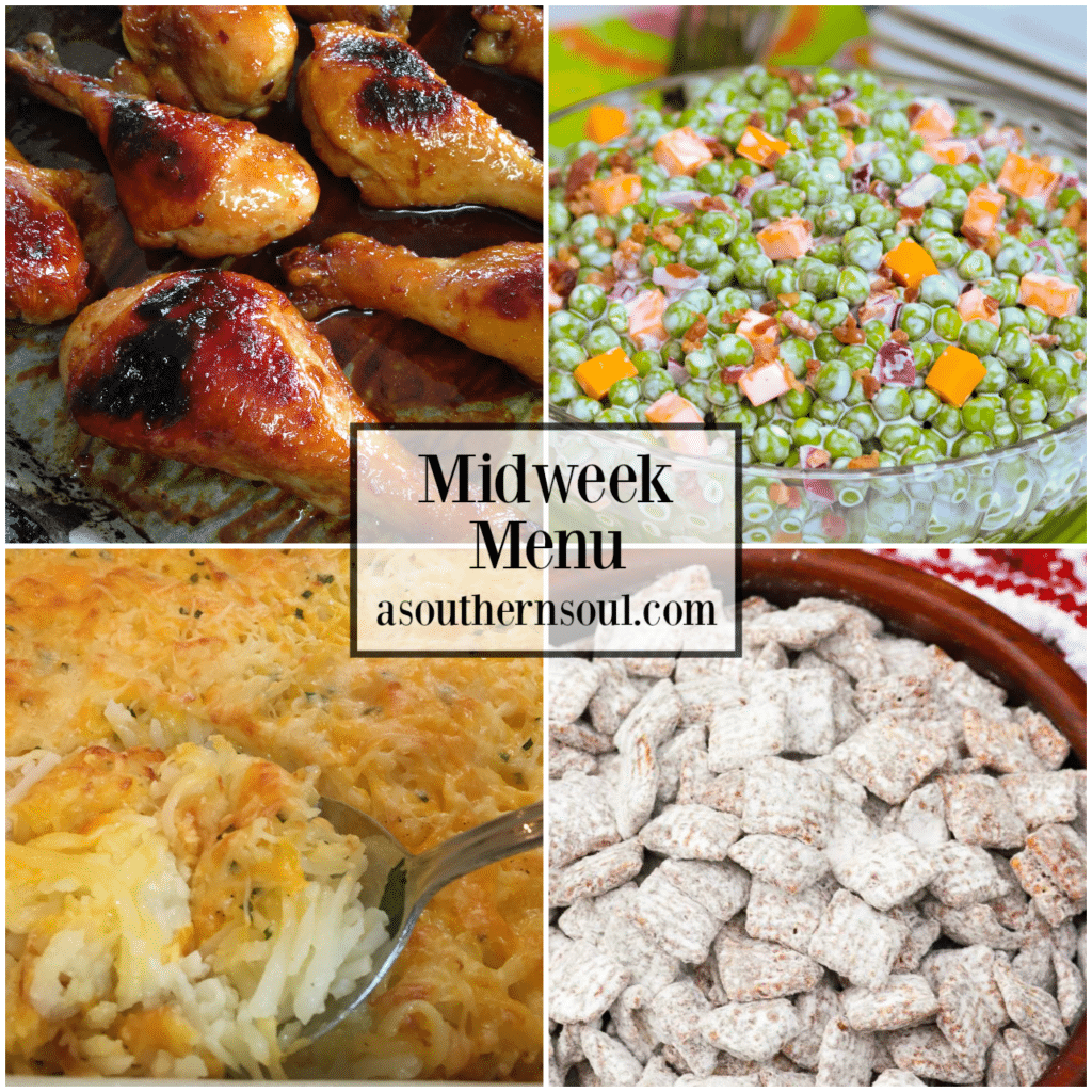 Midweek Menu #63 features Orange Garlic Chicken Legs, Classic Pea Salad, Hashbrown Casserole and Muddy Buddies for a line up that is has something for everyone to enjoy!