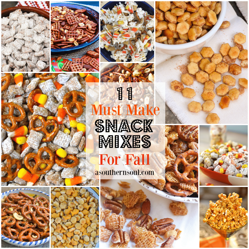 11 Must Make Snack Mixes for Fall includes sweet, spicy and everything in between. Easy to make recipes for snack to enjoy while watching your favorite show, tailgating, having a party or chilling out with friends.