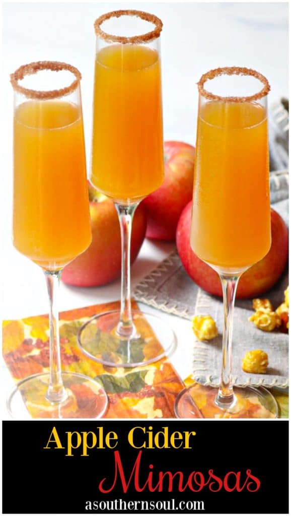 Apple Cider Mimosas made with apple cider and champagne is a simple two ingredient drink that's perfect for celebrating fall!