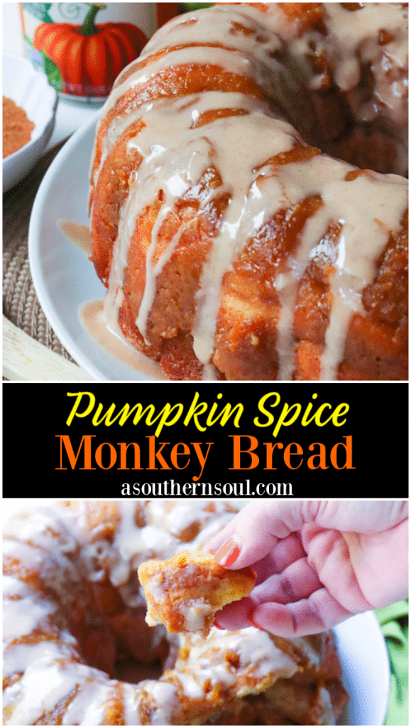 Pumpkin Spice Monkey Bread made with biscuits, spices, cream cheese and pumpkin is a fall treat that's over the top delicious! This easy to make bread is great as a dessert, snack or served for brunch.