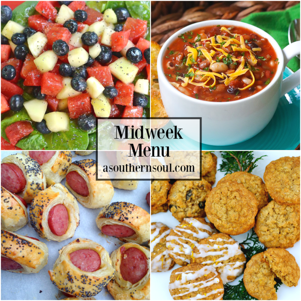 Midweek Menu #73 features fruit salad with popply seed dressing, 15 bean soup, BIG pigs in a blanket and oatmeal cookies.