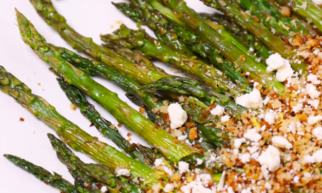 Roasted Asparagus with Lemon Panko & Feta