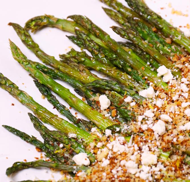 Roasted Asparagus with Lemon Panko & Feta