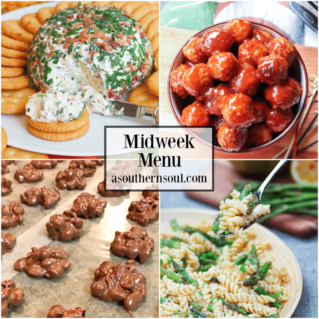 Midweek Menu #74 features Jalapeno Popper Cheeseball, Game Day Crockpot Meatballs, Lemony Pasta Salad with Asparagus and Crockpot Chocolate Peanut candy. Easy to make recipes that are sure to get your family to the supper table!
