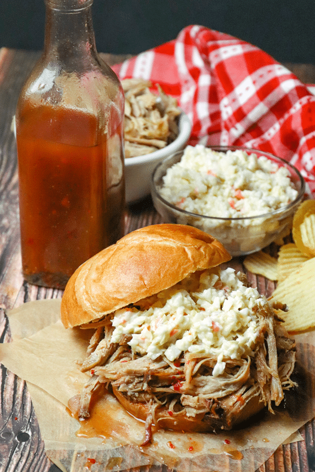Carolina Vinegar BBQ Sauce is tangy, spicy and is a must when you're serving pulled pork! It's easy to make with just 6 ingredients.