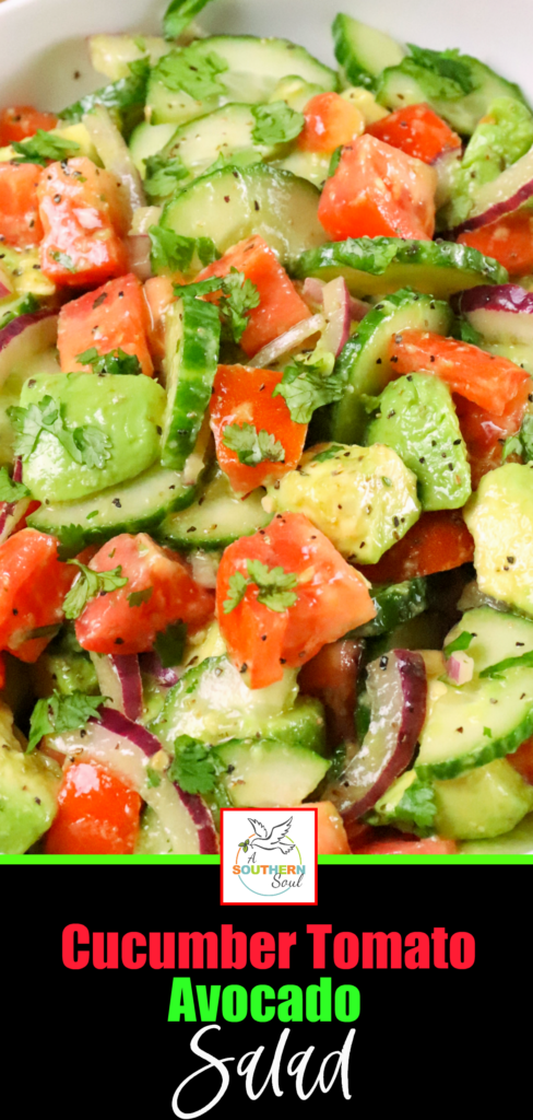 Cucumber Tomato Avocado Salad is full of fresh, bright flavor. Made with sliced cucumbers, tomatoes and avocados drizzled with a simple dressing of olive oil, vinegar mixed with garlic is great to serve any time of the year.