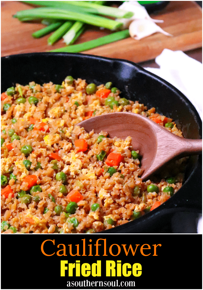 Cauliflower Fried Rice is a low carb version of your favorite Chinese take out dish. Made with cauliflower, eggs, carrots, and peas, it's seasoned with soy sauce and garlic all ready in less than 20 minutes!