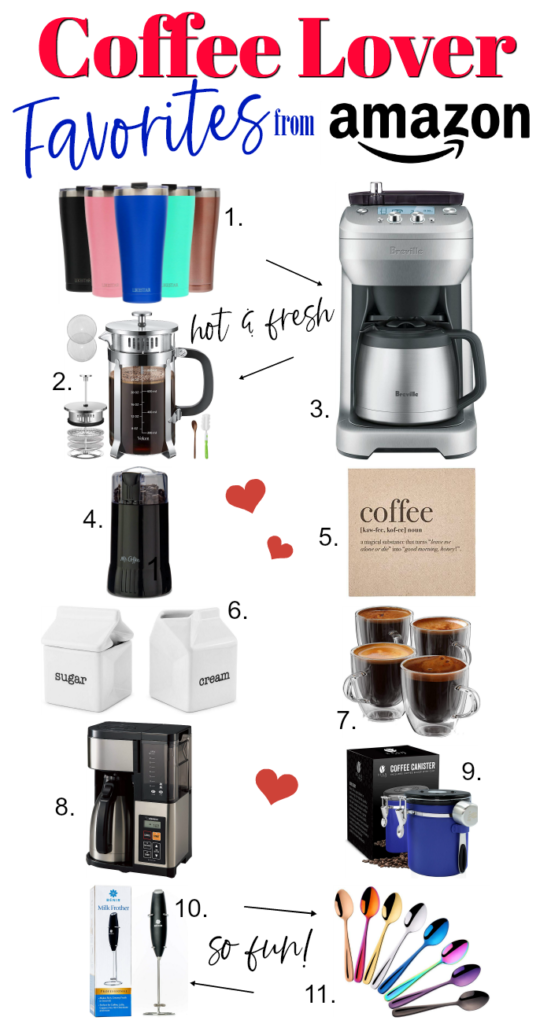 Coffee Lover Favorites with Amazon includes coffee makers, mugs, storage and fun extras to make coffee drinking special!