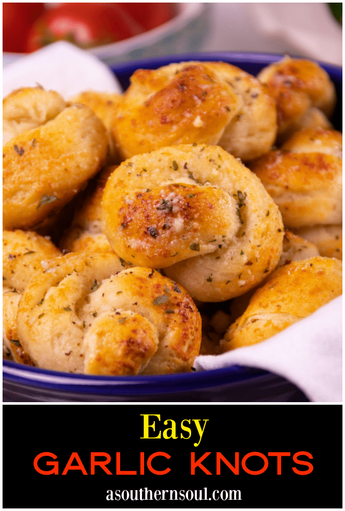 Incredibly easy to make, and ready to serve in less than 20 minutes, these Garlic Knots are seriously delicious! Made with canned biscuits and slathered with butter, garlic, Parmesan cheese, and herbs, they are great as an appetizer served with marinara for dipping, or alongside your favorite recipes at mealtime.