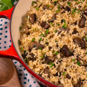 Fluffy rice with caramelized mushrooms, onions and garlic cooked in a rich broth make an amazing one-pot masterpiece! Mushroom Rice, made with 7 simple ingredients is a delicious side dish and makes a yummy meal on its own. This savory recipe with layers of flavor is sure to become a family favorite.