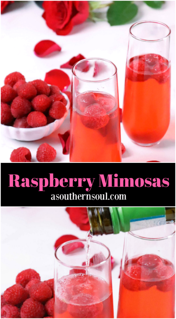 Raspberry Mimosas made with fresh berries, raspberry sorbet, grenadine and prosecco made a festive drink for any occasion!
