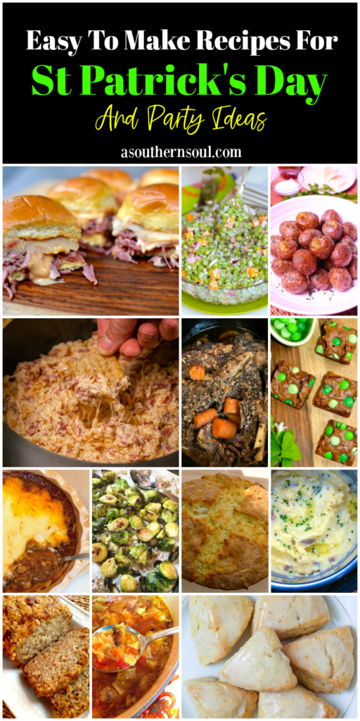 Easy to make recipes for St. Patricks Day includes appetizers, snacks, main and side dishes and desserts.