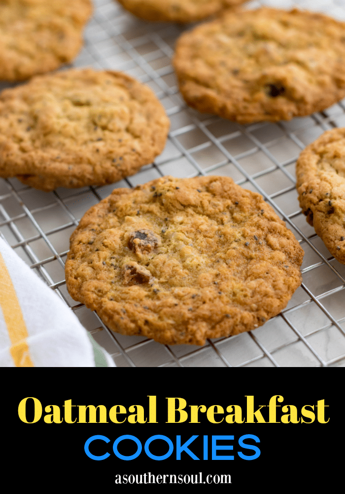 Hearty, easy to make Oatmeal Breakfast Cookies are a delicious way to start the day! Made with oatmeal, coconut, chia seeds, dates, eggs, butter and flour. They are the perfect grab and go breakfast.